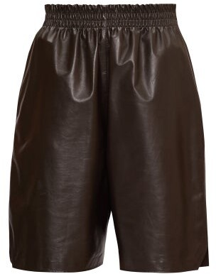 Bottega Veneta Elasticated-waist Leather Shorts - Dark Brown