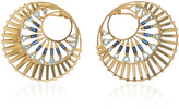 Carol Kauffmann 18K Gold, Aquamarine and Sapphire Earrings