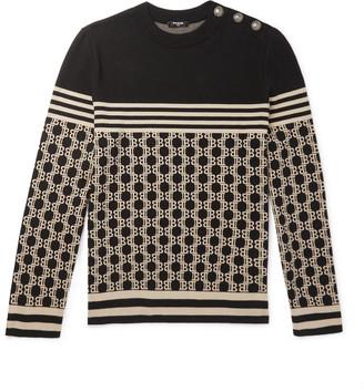 Balmain Logo-Jacquard Cotton Sweater