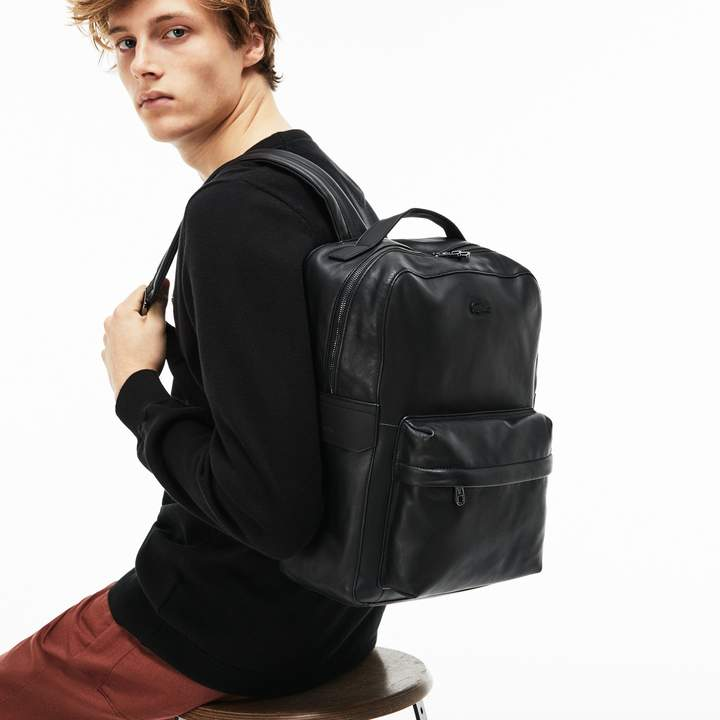 Lacoste Men's Full Ace Leather Backpack