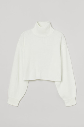 H&M Cropped Turtleneck Sweater - White