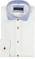 Forzieri White w/Blue Floral Print Collar Cotton Slim Fit Shirt