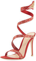 Gianvito Rossi Dragon Ankle-Wrap 105mm Sandal, Red