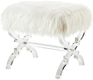 Inspired Home Enzo Faux Fur Acrylic X-Leg Ottoman, Cream White