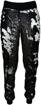 Lalipop Design Double-Sided Sequined Black Faux Leather Track Pants