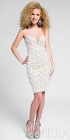 Terani Couture Strapless Quatrefoil Rhinestone Cocktail Dress