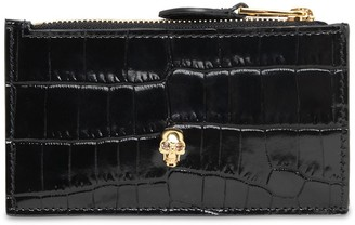 Alexander McQueen Croc Embossed Leather Wallet