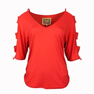 Lalipop Design Coral Red V-Neck Viscose Blouse With Cut-Out Sleeves