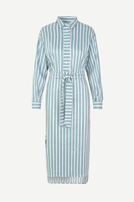 Samsoe & Samsoe Tourmaline Blue Stripe Amara Shirt Dress - XSMALL