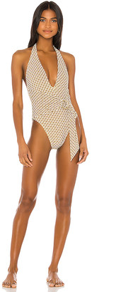 Jonathan Simkhai Chain Print Deep V One Piece
