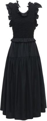 Cecilie Bahnsen Ruffled Midi Dress W/ Open Back