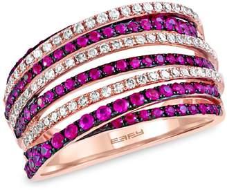 Effy 14K Rose Gold, Ruby 0.33 CT. T.W. Diamond Ring