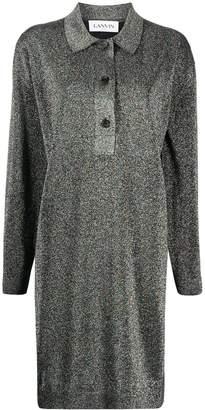 Lanvin glitter-effect knitted shirt dress