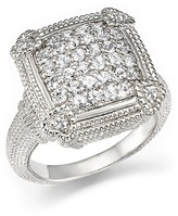 Judith Ripka Pavé Linen Cushion Ring with White Sapphire