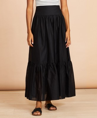 Brooks Brothers Flounced Cotton Maxi Skirt