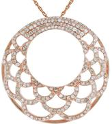 "Ice 1 CT TW Diamond 14K Rose Gold Circle Pendant Necklace with 18"" Rope Chain"