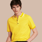 Burberry Striped Collar Cotton Piqué Polo Shirt