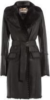 Roberto Cavalli Stud-Embellished Leather Coat