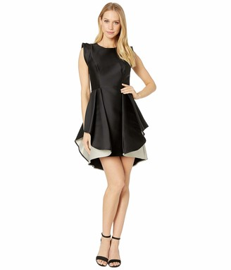 Halston Women's Structured Cap Sleeve Fit & Flare Dress