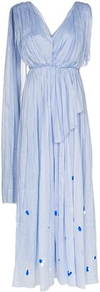 Vika Gazinskaya Asymmetric Pleated Maxi Dress