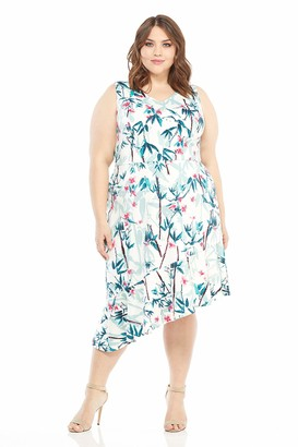 Maggy London Women's Print Scuba Fit and Flare with Ruffle Hem