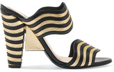 Fendi Hypnosis Paneled Metallic And Matte Leather Mules - Gold