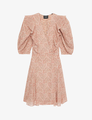 The Kooples Frill-detail woven mini wrap dress