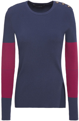 Cédric Charlier Button-detailed Striped Ribbed-knit Sweater