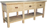 CFC Reclaimed 3-Drawer Console - Unfinished frame, whitewash; hardware, rust