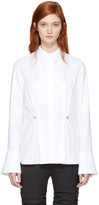 Carven White Studded Peplum Shirt