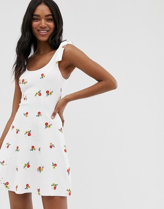 ASOS DESIGN embroidered rib sundress with tie straps in white