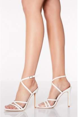 Quiz White Cross Strap Heeled Sandals