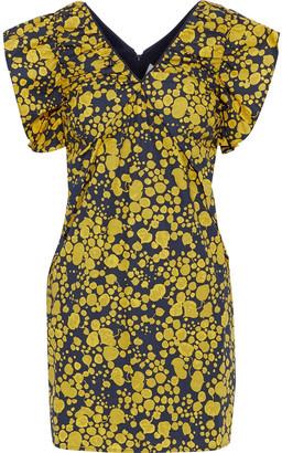 Victoria Victoria Beckham Gathered Printed Cotton-poplin Mini Dress