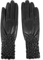 Matsu Gloves MATSU Women Winter Warm Lambskin Long Fleece Lined Leather Hand Pleated Flower Gloves M9271-30