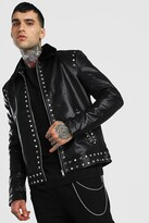 boohoo Mens Black Borg Collar Studded Leather Look Jacket, Black