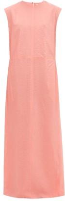 Raey High V-neck Double-layered Organza Shift Dress - Womens - Pink