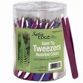 Satin Edge Slant Tip Tweezers In A Container / 3 Colors / 48/Count (SE-2073) by Satin Edge