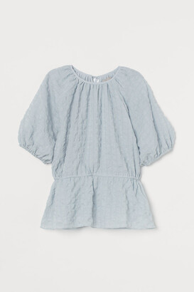 H&M Puff-sleeved Top - Turquoise