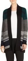 St. John Engineered Inlay Stitch Knit Shawl Collar Cardigan