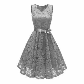 Moent Women Wedding Princess Dress Women's V-Neck Floral Lace Cocktail Neckline Party A-line Sleeveless Ball Gowns Bridesmaid Vintage Swing Dresses(Gray-L)