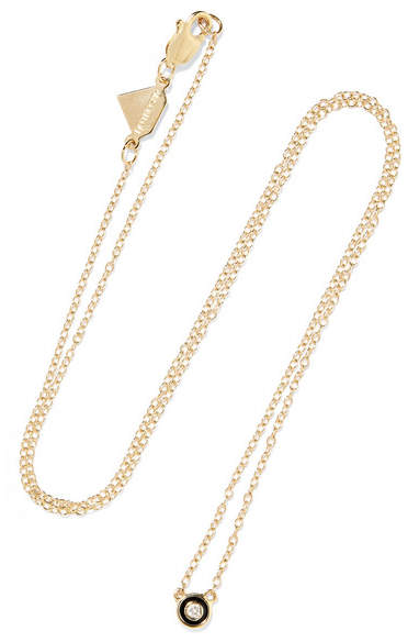 Alison Lou Salt Enameled 14-karat Gold Diamond Necklace