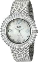 Burgi Women's BUR076WT Mother-of-Pearl Diamond and Baguette Bracelet Watch
