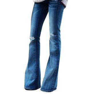 ITISME Sale Jeans Women Denim Hole Female Mid Waist Stretch Slim Flare Pants