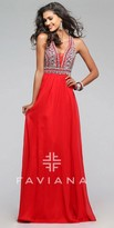 Faviana Empire Rhinestone Chiffon A-line Prom Dress