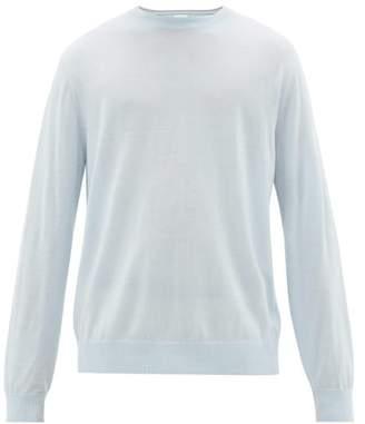Paul Smith Logo Embroidered Merino Wool Sweater - Mens - Light Blue