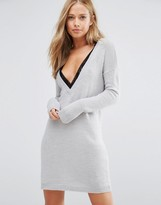 Vila Deep V Sweater Dress With Lace Trim