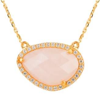 Sofia Rose Quartz Gemstone Necklace Gold