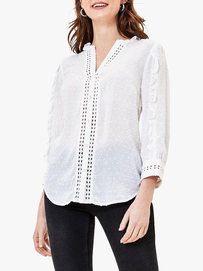 Oasis Dobby Lace Ruffle Shirt