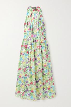 Les Rêveries Pleated Floral-print Silk-satin Halterneck Midi Dress - Blue