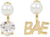 Betsey Johnson Betsey Blue Word Play Bae Gold Earrings